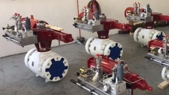 Some of the completed valve, actuator and Pressure Safe packages produced by Rotork Singapore for the first onshore wellhead production order.