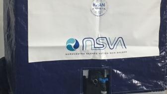 Så här ser NSVAs nödvattentankar ut. På tisdagskvällen placeras tre nödvattentankar ut i Torekov.  De kommer att vara tomma, men kan snabbt fyllas på vid en eventuell kris.