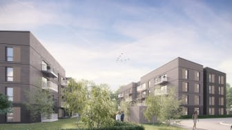 Illustration of the upcoming homes from BoKlok in Worthing.