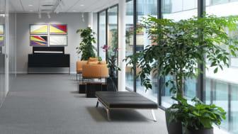 Russell Reynolds Associates nya reception på kontoret på Regeringsgatan i Stockholm.
