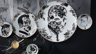 Die von Pietro Sedda handgezeichneten Entwürfe zieren Teller, Schalen und Tassen.