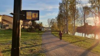 Ny sträckning för Hälsans stig i centrala Skellefteå. Den går som en sju kilometer lång slinga på södra och norra sidan om Skellefteälven mellan Lejonströmsbron i väster och Älvsbackabron i öster.