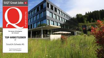 SIQT Great Job Awards 2021: Scout24 Schweiz AG als Top-IT-Arbeitgeber ausgezeichnet