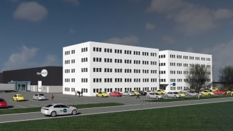 Visualisation draft of new headquarters and production facilities for Blue World Technologies at the Port of Aalborg. The largest methanol fuel cell factory in the world.