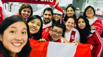 (Panalpina Peru team showing their trademark enthusiasm during the recent Panalpina World Cup selfie contest. Photo by: Katherine Chacon)