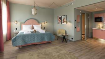 Färgpaletten är lika modern som den andas både Las Vegas och klassisk nöjespark: turkosgrön, rosa och korall med gula accentfärger. På formsidan är både mjuka bågar och den klassiska harlequinrutan genomgående.