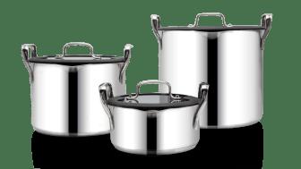 Ego1948 köksredskap består bland annat av unika STACKPOT® stapelbara kastruller som spar värdefull plats i köksskåpet