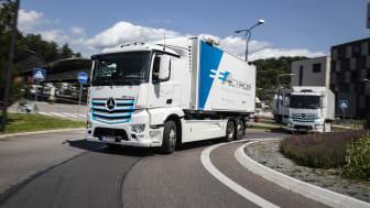 Den 30 juni är det världspremiär för Mercedes-Benz första eldrivna tunga lastbil – eActros (bilden föreställer prototyper).