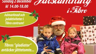 """Julstämning i Tibro med avtäckning av jättejultomte av Tibros """"gladiator"""""""