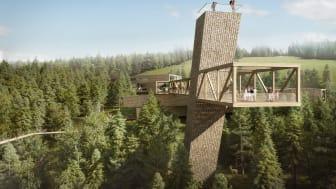 Ein Skywalk, ein unüberdachter Steg, ist der architektonische Blickfang des neuen Besucher- und Informationszentrums der Nationalparkverwaltung Schwarzwald.  (Copyright: bloomimages / sturm und wartzeck, Dipperz)