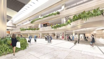 The revamped entrance to the T2 Departure Immigration Hall will be defined by layers of overhanging planters set against a new colour palette of earthy tones.