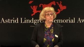 Juryns ordförande Boel Westin vid tillkännagivandet av 2019 års pristagare.