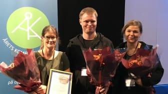 Glada vinnare från vänster Sara Wiesner, Niklas Axelsson och Camilla Axelsson.