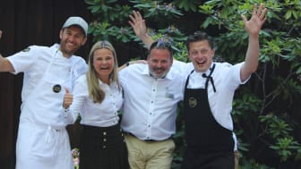 Lantmännen Unibake og Flying Culinary Circus på Unibakedagen 2018. Fra venstre: Mathias Spieler Bugge, Aina Hagen, Thomas Bjarkholm og Tor Jørgen Kramprud Arnesen.
