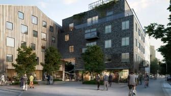 Den nya stadsdelen Väsjö torg är tänkt att bli en småskalig, variationsrik och naturnära stadsmiljö.
