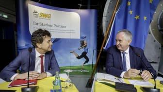 Matthias Block, Vorstandsvorsitzender der Stadtwerke Görlitz, und Thomas Schmidt, sächsischer Staatsminister für Regionalentwicklung