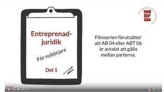 En unik filmserie för dig som vill lära dig mer om entreprenadjuridik.