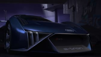 Audi RSQ e-tron close-up af front (spionbil til animationsfilmen Spies in Disguise)
