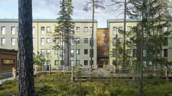 Kv. Roten, 277 studentlägenheter i Umeå som ska certifieras enligt Miljöbyggnad iDrift och klimatriskinventeras. Foto:K2A