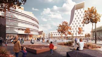 Det nya torget i Kiruna. Från systemhandlingen av White arkitekter och Ghilardi+Hellsten arkitekter.