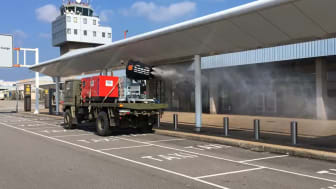 A HIMOINSA generator mounted on an army truck powers disinfection efforts at Asturias International Airport.