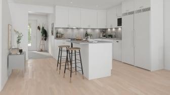 Brf Skogshem - 3D-bild av kök