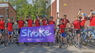 Arden Academy pupils at the end of their 100km cycle for the Stroke Association.