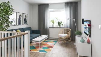 Illustration av interiör, allrum, BoKlok småhus, 2020.