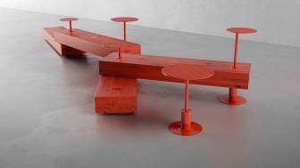 Sittmöbler i målad furu. Formgivare Liljewall genom arkitekt Jonas Hermansson för Nola.