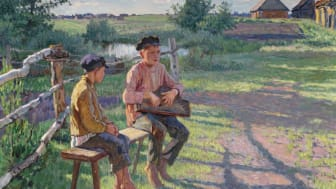 Nikolai Petrovich Bogdanoff-Belsky: Two boys on a bench, summer. Signed N. Bogdanoff-Belsky 1934. 80 x 100 cm. Sold for DKK 320,000 at Russian Auction this December.