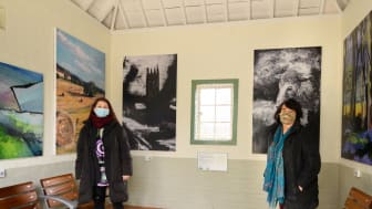 Wealden wonders:  at Southern's Penshurst station, Sally El Dar (left) and Cathy Bird MA have created an exhibition of art inspired by the local landscape