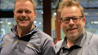 GoGolfin Antero Hiito ja Mikael Hästbacka uskovat, että pyörivä kivi ei sammaloidu. Työelämässä aktiivinen ja verkostoistaan huolehtiva osaaja pärjää kilpailussa. Kuva: GoGolf