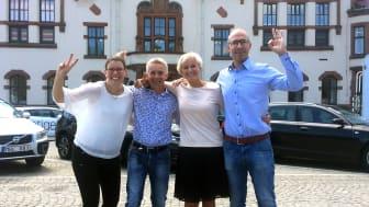 Centrumföreningens Karin Strindgård, Mikael Svensson från Sparbanken, Annette Sandberg och Jonke Höglund från Sparbanken i Karlshamn.