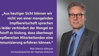 Hephata-Vorstandssprecher Maik Dietrich-Gibhardt hält Diskussionen über eine mögliche Impf-Pflicht für Pflegekräfte für verfrüht und den Mangel an Impfstoff für das eigentlich akute Problem.