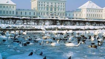 Slott Nymphenburg i München om vinteren