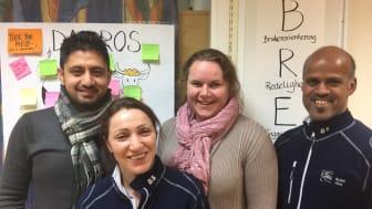 Adil akram (arbeidsleder Stovner), Fatma Özdemir (arbeidsleder Alna), Bodil Langsrud (seksjonleder), Ragavan Sinnathamphy (arbeidsleder Alna)