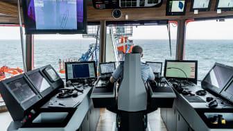 Kaptajnens udsigt fra broen på et ESVAGT SOV (Service Operation Vessel)