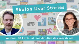 Skolon User Stories är en ny webinarserie i fyra olika delar där vi tillsammans med våra användare lyfter utmaningar med skolans digitalisering – och framför allt lösningar kring hur vi säkrar ett tillgängligt, likvärdigt och säkert lärande.