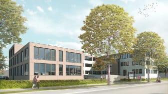 Das Konzernhaus in Neu-Ulm wird um einen Erweiterungsbau ergänzt. Dieser bietet 46 Büroarbeitsplätze, Besprechungsräume, Teeküchen und eine Cafeteria. (Copyright: Nething Generalplaner GmbH, Neu-Ulm)