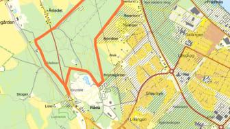 Den orangea linjen markerar det aktuella området.