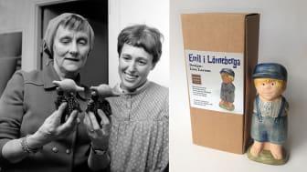Lisa Larson och Astrid Lindgren i ateljén i slutet av 60-talet + den nya Emilfiguren
