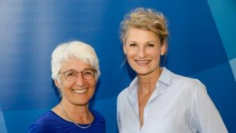 Olympiasiegerin und Weltmeisterin im Hochsprung Heike Henkel (r.) ist neue Osteopathie-Botschafterin. VOD-Vorsitzende Prof. Marina Fuhrmann (l.) freut sich über diese Kooperation.