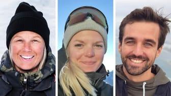 Carolina Edwall, Natalie Hermansson och Mathias Moberg, 2020-års stipendiater för unga ledare på snö.