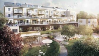 Ett spektakulärt projekt med en mångfald av lägenhetstyper och en skyddad gård i söderläge.