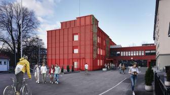 Sofienberg skole skal rehabiliteres og har byggevarer til overs. Illustrasjon av skolen etter rehabiliteringen. Illustrasjon: Undervisningsbygg.
