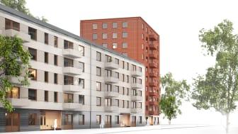 Det nya gestaltningsprogrammet är framtaget av Stockholmshusens konceptarkitekter Dinell Johansson, Per Kallstenius och Bibbi Leine, Landskapslaget.