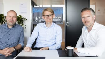 The Digital Edge podcast: Lars Jacobsen, Computerworld (tv), Michael Biermann, CIO hos Ørsted (midt) og Jesper Schleimann, SAP (th).
