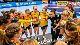Handbollslandslaget spelar EM-kvalmatch i Skövde 29 mars 2020. Foto: Christoffer Borg Mattisson/Handbollslandslaget