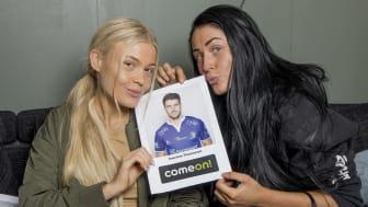 Thea Gudmundsen (21) og Lea Vik (25) fra Paradise Hotel tok ComeOn!s-utfordring om å kåre Eliteseriens kjekkeste fotballspiller på strak arm.