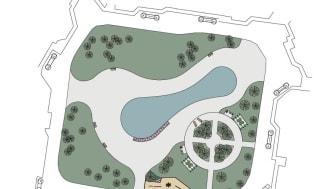 Skissen visar hur grönområdet och dammen vid Pålsjö östra kommer att renoveras. Arbetet startar i maj och planeras vara klart i september. Illustration: WSP.